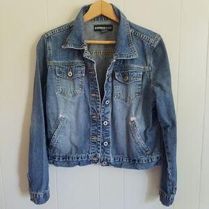 Express jean jacket distressed broken in blue L